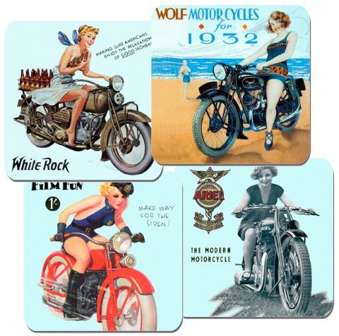 1930's Girls and Motorcycles Coasters Set Of 4 Motorbike Biker Classic Bike Gift